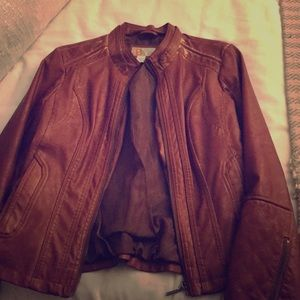 Women's brown leather jacket
